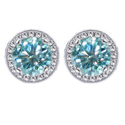 1.25 Ct Light Blue Moissanite Round Halo Style Stud Earrings In Sterling Silver