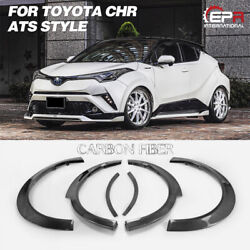 For 17 Toyota Ch-r Ats Style Carbon Glossy Wide Fender Set 6pcs Exterior Kits