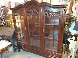 Large Mahogany Library Bookcase W/ 3 Doors Andndash Very Well Made