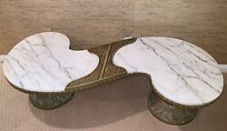 Mid Century Modern Hollywood Regency White Marble French Mcm Coffee Table