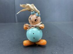 1930's Bakelite Celluloid Baby Crib Toy Rattle String Toy Bunny