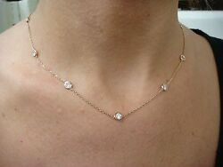 14k Rose Gold Diamonds By The Yard Style 2 Ct 10 Stations Necklace, 18 Long