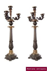Antique France Rare 19th Original Pair French Candle Holders Candelabra 49 Cm
