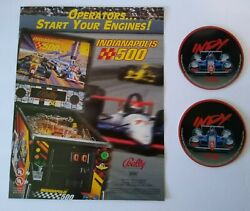 Indianapolis 500 Pinball Flyer And 2 Promos Plastic Coasters Indy Auto Racing Nos