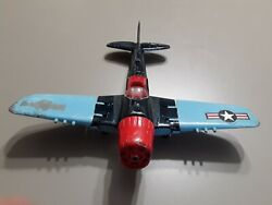 Vintage Toy Airplane, Hubley, Fighter Bomber Diecast Plane 495, Red And Blue.