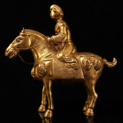 15.2marked Old China Copper 24k Gold Gilt Dynasty Beauty Maid Ride Horse Statue