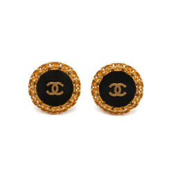Cc Round Chain Disc Clip On Earrings 93p Black And Vintage Gold 1993