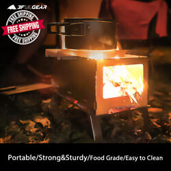 Camping Stove Barbecue Grill Titanium Wood Stove Stainless Steel Bbq Outdoor New