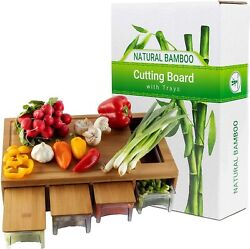 Cutting Board With 4 Trays/drawers/container/lids For Easy Food Prep And Cleanup
