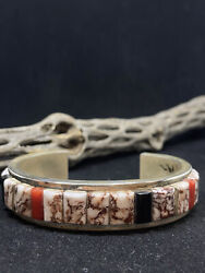 Native American Navajo Raised Inlay Crazy Horse Turquoise Sterling Mens Bracelet