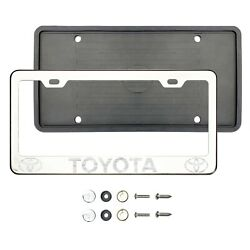 T0y0ta New Laser Etched Chrome T304 Stainless Steel License Frame Silicone Guard