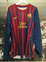 Barcelona 2011 Player Issue Home Shirt - Nwt - Large - Long Sleeve - Inner Wash