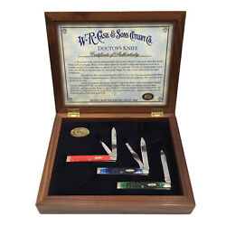 Case Doctors Knife Knives Set Of 3 Physician Rogers Jigged Red Green Blue Bone