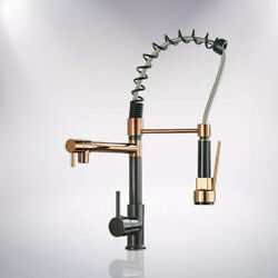 Kitchen Sink Faucet Pull Down Sprayer Oil Rubbed Bronze With Rose Gold Mixer Tap