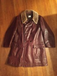 4000 Armani Collection Car Coat Brown Leather Mens Overcoat Jacket Us