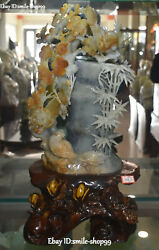 20 Noblest Natural Jade Carving Branch Plum Blossom Magpie Bird Bamboo Statue