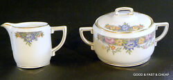 Hutschenreuther Selb China Vernon Pattern Creamer And Covered Sugar Bowl Set