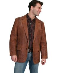 Scully Western Jacket Mens Leather Button Caiman Back Vent F0_953
