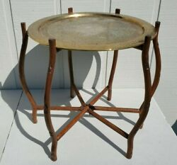 Large Vintage Harilelas India Brass Tray Wooden Side Table Mid Century