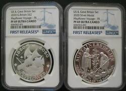 Us And Great Britain Uk 2 Pounds 2020 Silver Proof Coin Mayflower Voyage Ngc Pf69