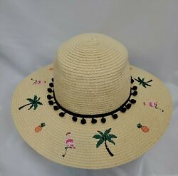 Betsey Johnson Beach Straw Wide Brim Hat Tropical Embroidered Pom Pom One Size $24.99