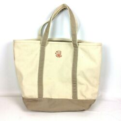 Lands End Extra Large Canvas Zip Top Tote Bag Tan Beige Monogrammed Beach Travel $49.99
