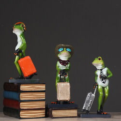 Creative Resin 3d Craft Frog With Suitcase Figurine Home Desktop Decor Gift
