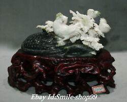 16 China Natural Dushan Jade Carving Tortoise Turtle Magpie Bird Flower Statue