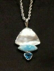 Marta Howell 925 Sterling Silver Pearl Larimar Marquis And Blue Topaz Pendant
