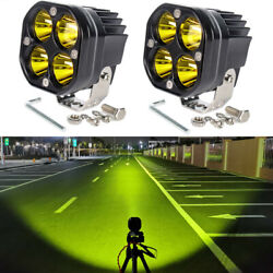 2pcs 40w Cree Led Light Bar Pod White Amber Lamp Suv Boat Bar Flood Offroad