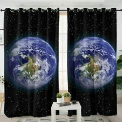 3d Universe Earth Galaxy Stars Window Living Room Bedroom Curtains Drapes
