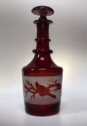 Antique Bohemian Ruby Flashed Satin Glass Decanter Egermann Bird And Vine Pattern