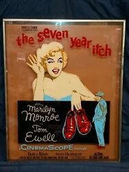 Marilyn Monroe Vintage The Seven Year Itch Reverse Painted Glass Movie Poster