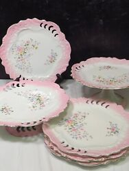 Antique French Porcelain Reticulated 2 Pedestal Cake Stands And 4 Dessert Plates