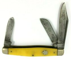 Keen Kutter Stockman Knife Smooth Yellow Delrin Vintage 5321-op