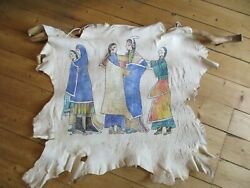 Native American Painted Deer Hide Marriage Ceremony 36x40 Sd-03868