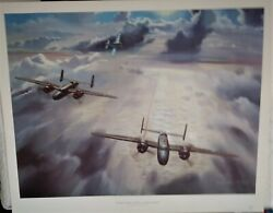Wwii Aviation Art Print-nixon Galloway Welcome Little Brother-b-25's And P-51