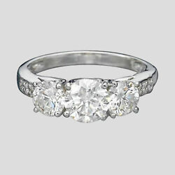3-stone Anneau Fianandccedilailles Diamant 1 1/2 Ct Rond H / Vs2 14k Blanc Or Taille 7