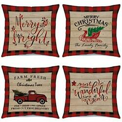 Christmas Pillow Covers Country Christmas Decorations 4 Pack Merry And Bright