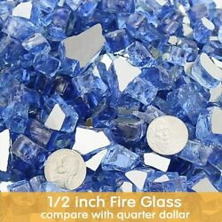 80 Lbs Fire Glass For Fire Pit And Fireplace 1/2 Inch Reflective Fireglass Rocks