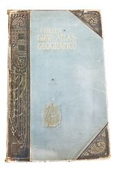 Antique Book 1912 Stieler Atlas Geography 4 Languages Leather Embossed Beautiful