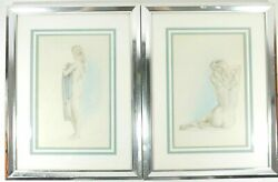 Pair Of Desimone Nude Woman Pencil Sketch Two-tone Lithographs Framed Matted