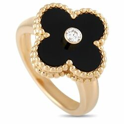 And 18k Yellow Gold Diamond And Onyx Ring