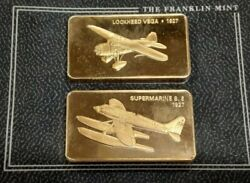 Janeand039s Medallic Register Great Aircraft Bronze Ingots On Card/1927 Lockheed Vega