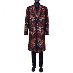 Dolce And Gabbana Runway Baroque Floral Embroidered Coat Black 54 Us 44 Xl 07023