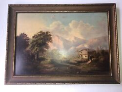 Vintage Original Oil Painting Mill On Farm Framed Unsigned 17 1/2andrdquo X 12 See Pics