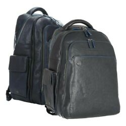 Backpack Piquadro Port Pc 15andprime Blue Square 13x16 7/8x9 1/8in Leather - Cow Man