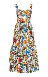 Dolce And Gabbana Floral Bamboo Printed Cotton Poplin Midi In Short Casual Dress