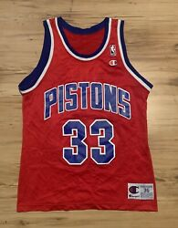 Vintage Champion Detroit Pistons Grant Hill Jersey Mens Small 36 Red