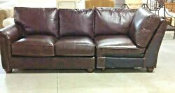 Pottery Barn Webster Left Arm Leather Loveseat And Corner Chair Nailheads